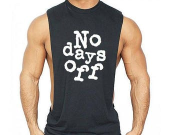 NO DAYS OFF  Low Cut Muscle Gym Vest - Men's Gym Sleeveless Sideless Muscle Singlets Tank Top \ Premium Quality !  Fast Delivery !