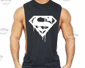 DRIPPING S Low Cut Muscle Gym Vest - Gym Sleeveless Sideless Muscle Singlets Tank \ Premium Quality !  Fast Delivery !