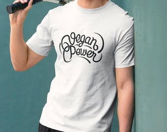 VEGAN POWER T-shirt - / Premium Quality ! - Made in London / Fast Delivery to the Usa , Canada , Australia & Europe !