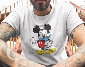 MICKEY MOUSE GANGSTER T-shirt  / Premium Quality ! - Made in London / Fast Delivery to the Usa , Canada , Australia & Europe !