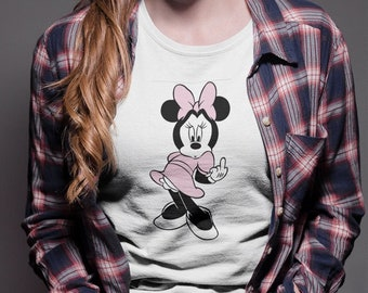 MINNIE MOUSE Middle Finger T-shirt  / Premium Quality ! - Made in London / Fast Delivery to the Usa , Canada , Australia & Europe !