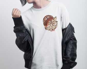 Hipster Cat T shirt / Loose fit Unisex Tee-  Premium Quality ! - Made in London / Fast Delivery to the Usa , Canada , Australia & Europe !