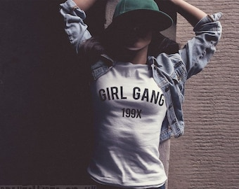 GIRL GANG 199X  Womens T-shirt // Premium Quality ! - Made in London / Fast Delivery to the Usa , Canada , Australia & Europe !