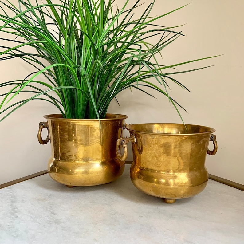 Bohemian Boho Decor. Footed Ring With Handles Brass Accents Vintage Set of Brass Plant Pots Decor