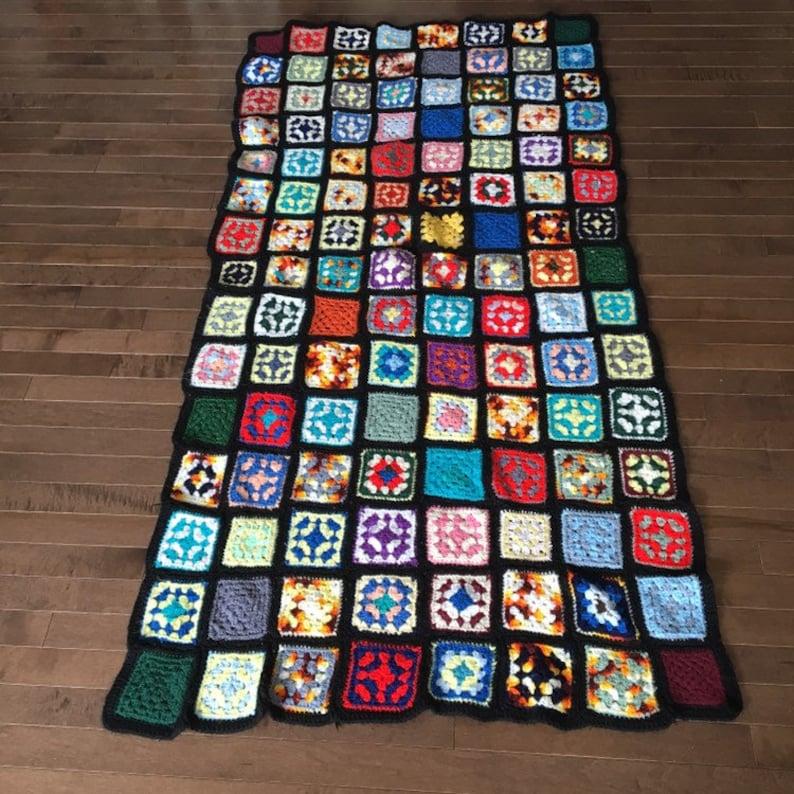 Bohemian Vintage Black Granny Square Afghan Multicolored Crocheted Blanket Throw Boho