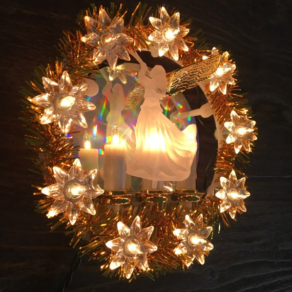 vintage christmas angel gold tinsel illuminated tree topper star light