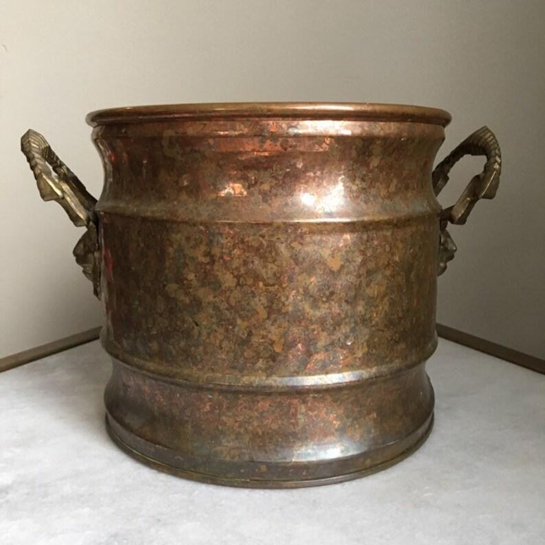 Bohemian, Boho Vintage Hammered Copper Brass Lion Head Planter Pot 7.5 Diameter