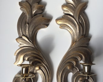 Ornate Pair Of Metal Tone Scroll Wall Mount Candle Holders.
