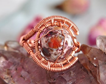 Mexican Fire Opal Copper Wire Wrap Ring