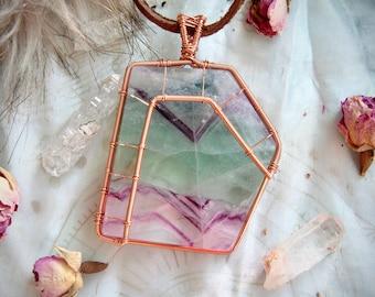 Fluorite Copper Wire Wrap with Tourmaline Beads