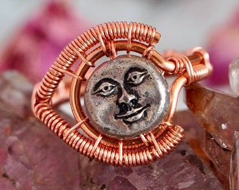 Silver Woman on the Moon Copper Wire Wrap Ring