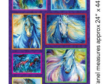 Painted Horse Tail Brights on Black By The yard x 43 inches cotton fabric