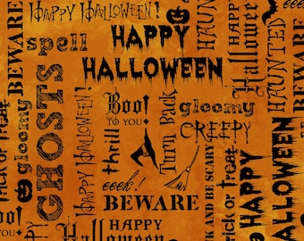 halloween fabric halloween words halloween sayings fabric fabric with words word fabric eat drink and be scary by windham 429032