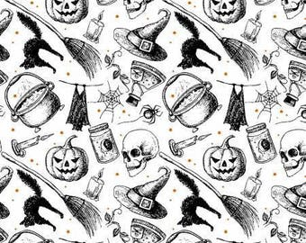 Halloween Fabric, Halloween words, Halloween Sayings Fabric, Fabric with words, Word Fabric, Eat Drink and Be Scary, by Windham, 429032