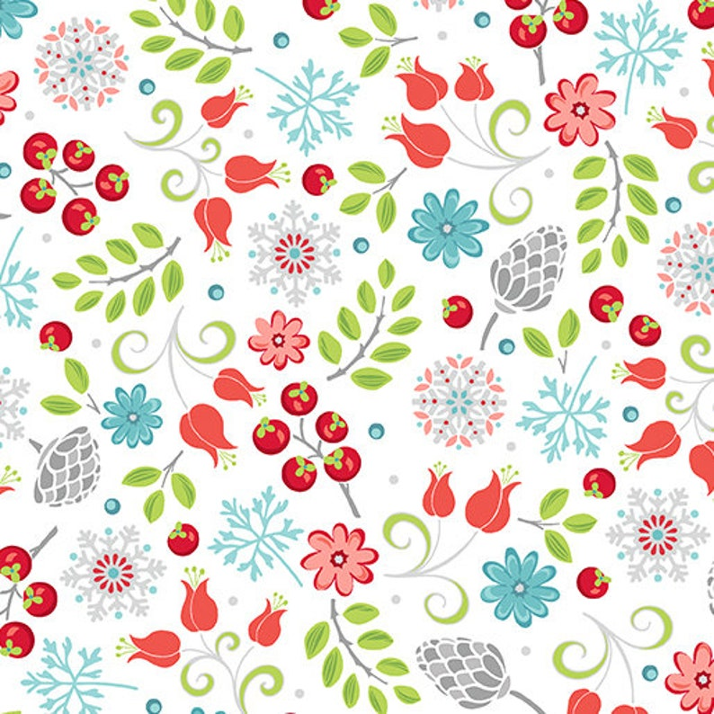 Small Floral Fabric Winter Fabric Leaf Fabric Floral Fabric Snowflake Fabric 06938-09 Little Floral White First Frost by Contempo