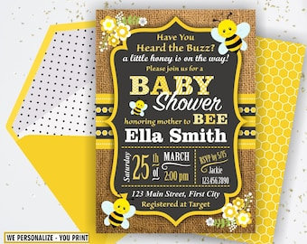 Bumble bee baby shower invitations etsy bumble bee baby shower party chalkboard invite burlap invitation rustic digital printable black yellow neutral boy girl flowers bsbee6 filmwisefo