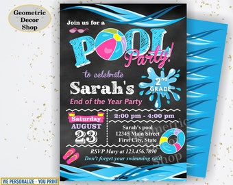 graduation summer party bash invitation end of the school year etsy