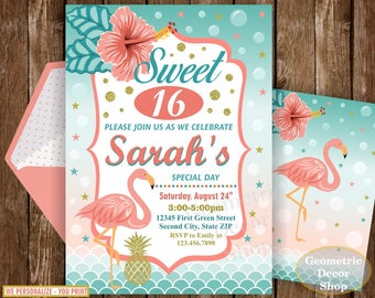SWEET 16 Invitation YOU PRINT 16th Birthday Flamingo Coral Luau Pool Party Teal Gold Invite Pineapple BDF16