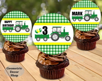 Tractor / Birthday / Cupcake / toppers / Printable / farm / green / yellow / Party / Printable / Boy / any age / plaid /CTractor1