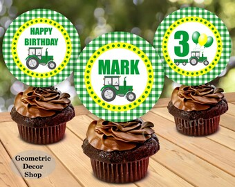 Tractor / Birthday / Cupcake / toppers / Printable / farm / green / yellow / Party / Printable / Boy / any age / plaid /CTractor2