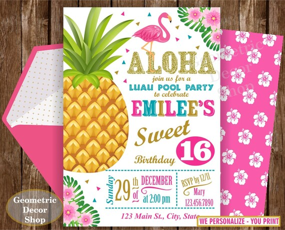 SWEET 16 Invitation YOU PRINT 16th Birthday Flamingo