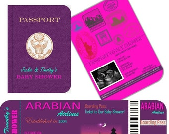 Arabian Nights- Morrocan- Bollywood- Arabia Passport & Boarding Pass Baby Shower Invitation- Any Occasion