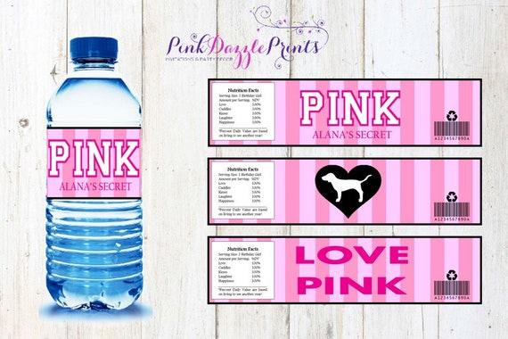 fb4dd5944e63 Customizable Printable Victoria s Secret Water Bottle Labels- Digital file  ONLY