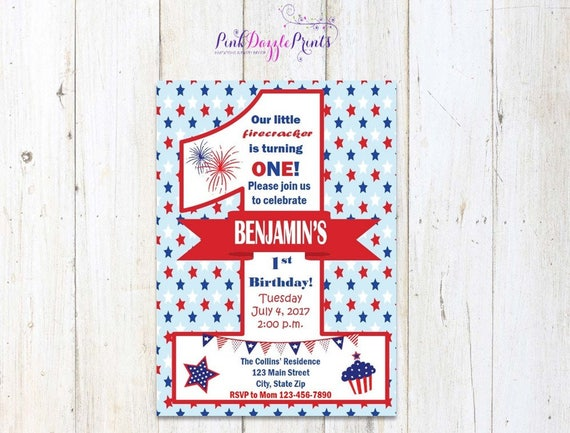 Printable July 4th First Birthday Invitation Red White And Blue Patriotic Stars Background