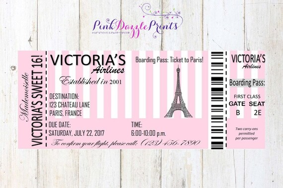 Printable Sweet 16 Paris Boarding Pass Invitation Digital File Any