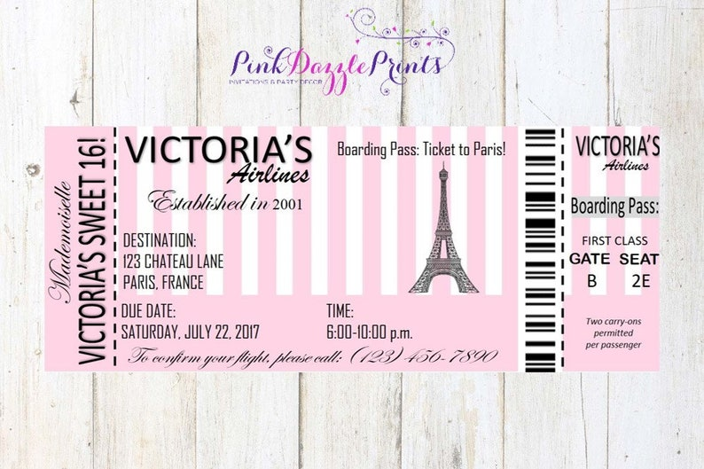 Printable Sweet 16 Paris Boarding Pass Invitation Digital Etsy