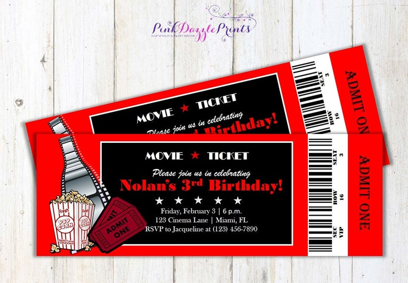 image about Printable Movie Ticket Invitation identified as Printable Video clip Ticket Invitation- Birthday- Any Social gathering