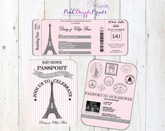Printable Paris Inspired Passport and Boarding Pass Invitation- Parisian Party- Digital File ONLY- Any Occcasion
