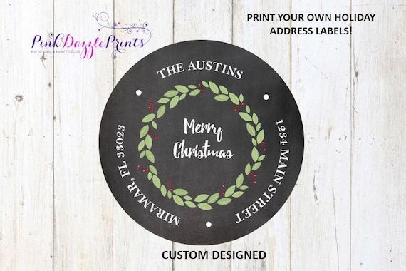 customized round 2 chalkboard with wreath return address label