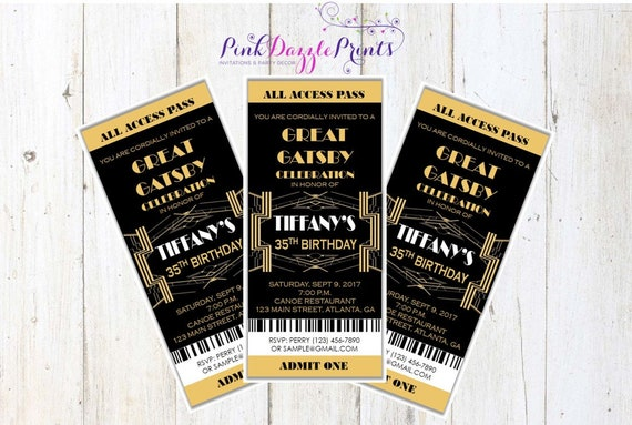 Great Gatsby Invitation Prom Ticket Party Any