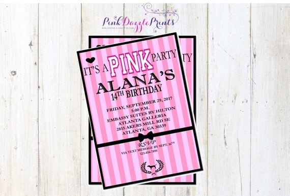 Printable 5x7 Victoria S Secret Pink Birthday Invitation Sweet 16