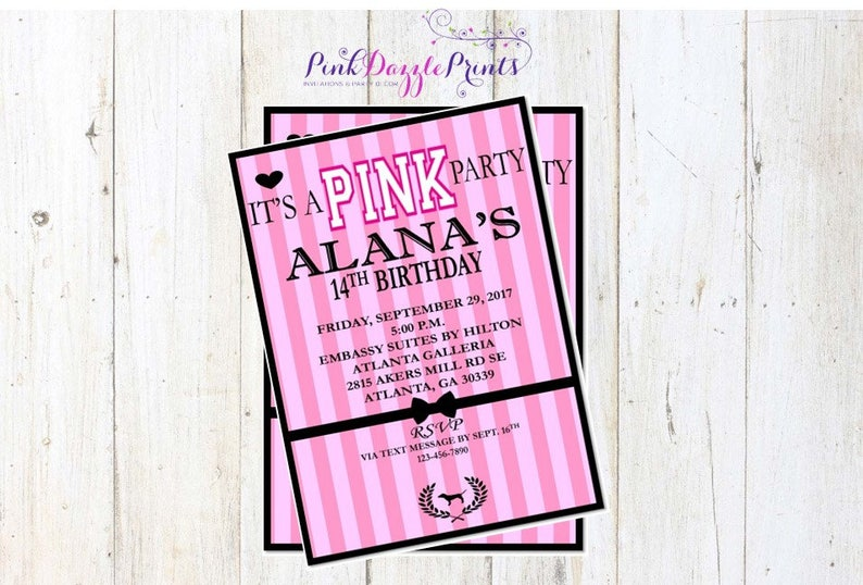 b70abd98ee51 Printable 5x7 Victoria s Secret Pink Birthday Invitation