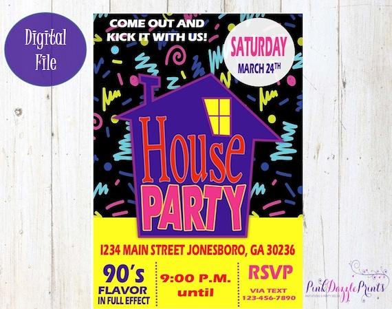 House party invitation 90s party invitation birthday etsy image 0 stopboris Gallery