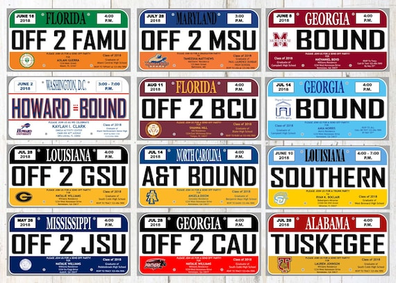 HBCU License Plate Graduation Party Invitation Trunk