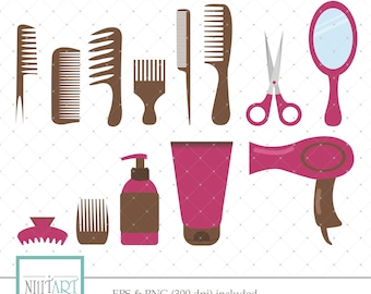 Hairdressing Clipart, Hair Clipart, Haircut Clipart, Vector graphics, Digital ImagesCombs clipart,