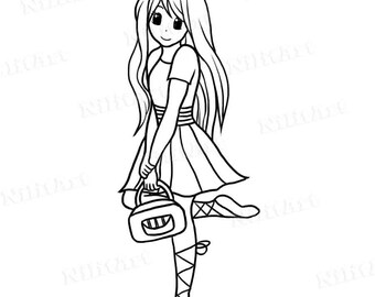 Girl Digital Stamp, ballerina Stamp, Handbag Digital Stamp, girl stamp, digital image,  NilitArt IMG 114