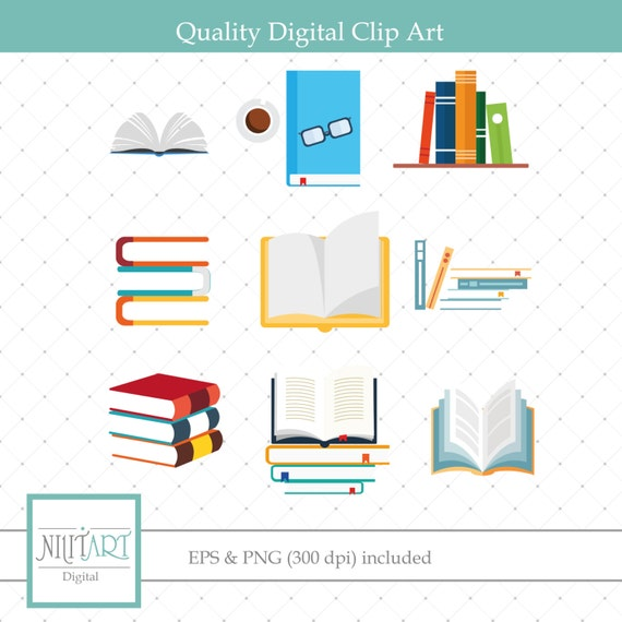 Libro Clipart Clipart Di Libri Di Testo Grafica Vettoriale Etsy