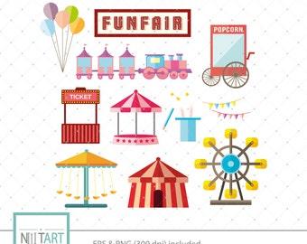 Fun fair clip art, state fair clipart, vector graphics, fair rides clipart, digital clip art, digital images -  CL 134