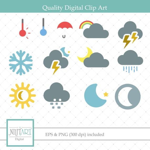 Weather Symbols Clipart Sun And Rain Clipart Vector Etsy