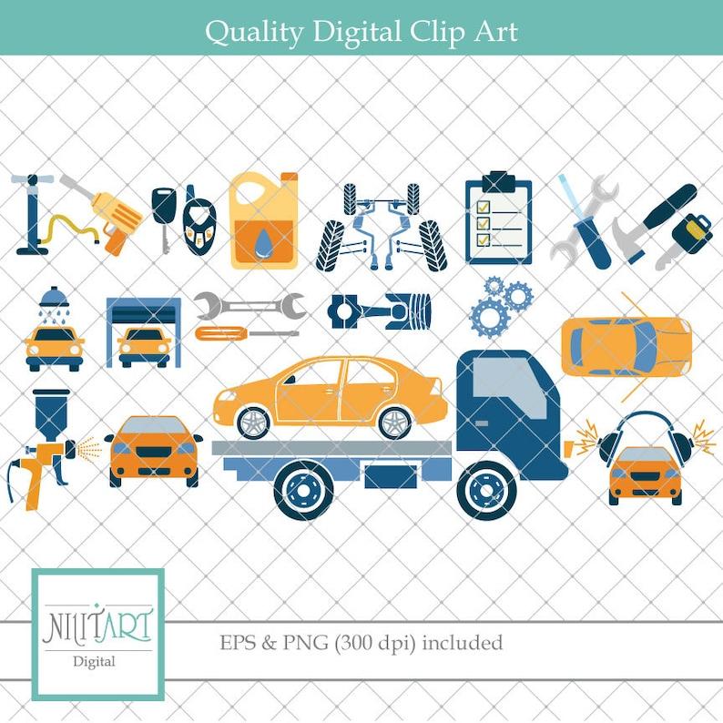 Car Maintenance Clipart Flat Tire Clipart Vector Graphics Etsy