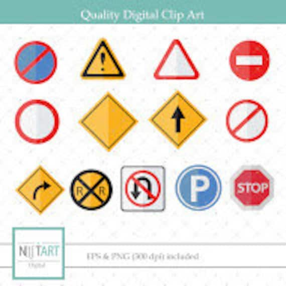 Traffic Signs Clip Art Road Signs Clipart Vector Graphics Etsy