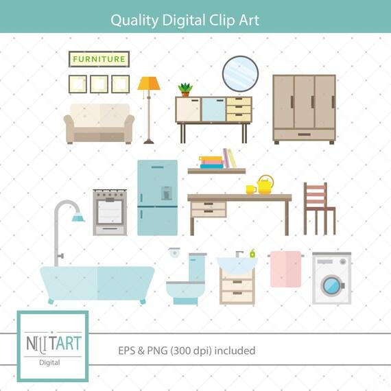 Home Clipart Interior Design Clipart Vector Graphics Furniture Clipart Digital Clip Art Digital Images Cl 149