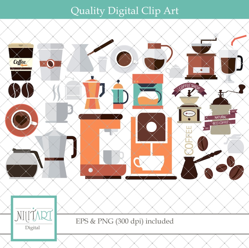 Coffee clipart, coffee maker clipart, coffee beans clipart ,Vector  graphics, Digital Clipart, Digital Images