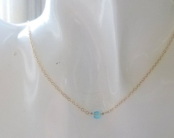 Tiny dot silver or gold necklace,Aquamarine  necklace,Aquamarine dot Necklace,Bridesmaid gift,Wedding Bridal gift, maid of honor