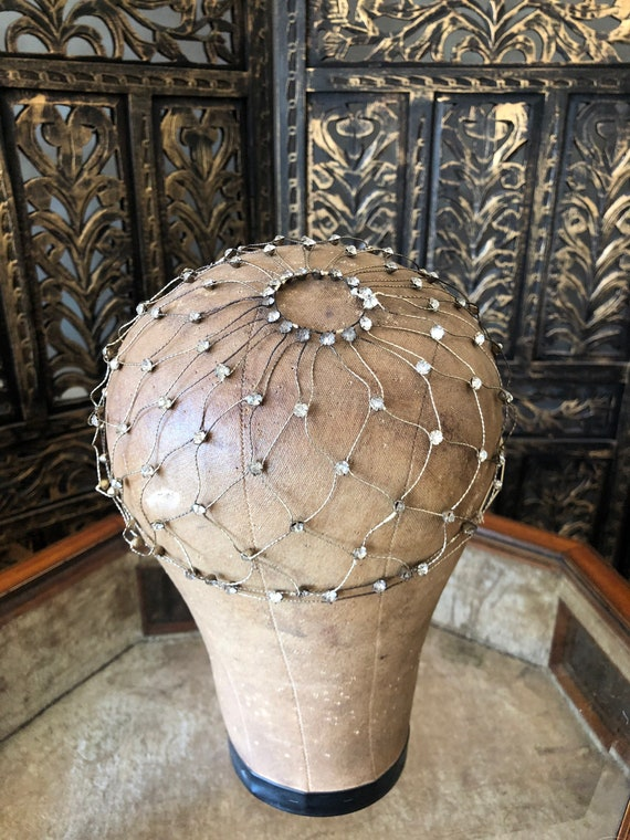 1920s rhinestone Juliet cap.