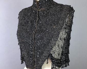 Victoruan jet beaded capelet  shrug cape shawl